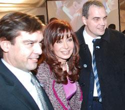 Cristina Fernández junto al presidente del directorio del diario El Liberal Lic. Gustavo Ick y el director del N. Diario José María Cantos (h)